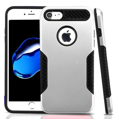 iPhone 7 / iPhone 8 Case ASMYNA Silver/Black Hybrid Protector Cover