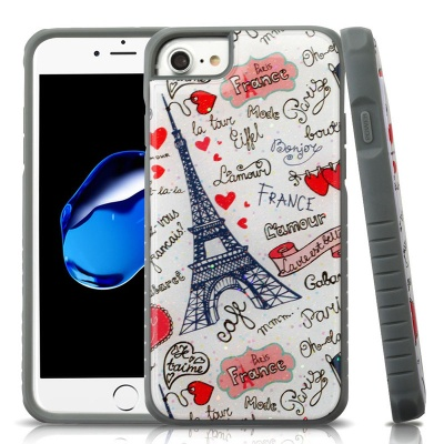iPhone 7 / iPhone 8 Case MYBAT Eiffel Tower Love Gel/Iron Gray Glitter Fusion Protector Cover