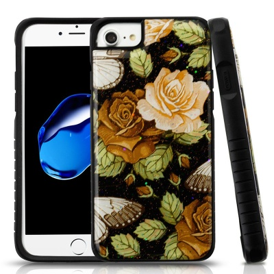 iPhone 7 / iPhone 8 Case MYBAT Lucky Flowers Gel/Black Glitter Fusion Protector Cover