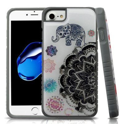 iPhone 7 / iPhone 8 Case MYBAT Lucky Elephant Mandala Gel/Iron Gray Fusion Protector Cover