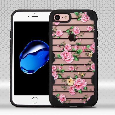 iPhone 7 / iPhone 8 Case MYBAT Pink Fresh Roses/Black FreeStyle Challenger Hybrid Protector Cover
