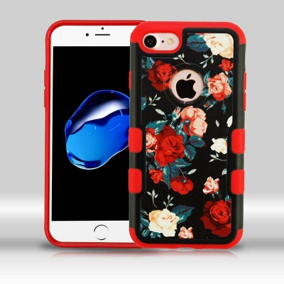 iPhone 7 / iPhone 8 Case MYBAT Red and White Roses/Red TUFF Merge Hybrid Protector Cover