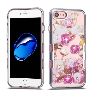 iPhone SE(2nd Gen) and iPhone 7/8 Case MYBAT Metallic Silver/Roses Diamante TUFF Panoview Hybrid Protector Cover