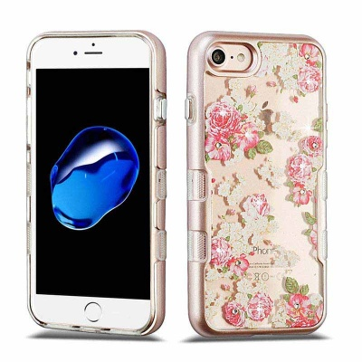 iPhone 7 / iPhone 8 Case MYBAT Metallic Rose Gold/European Rose Diamante TUFF Panoview Hybrid Protector Cover