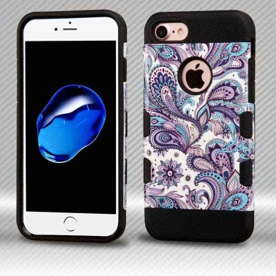 iPhone 7 / iPhone 8 Case MYBAT Purple European Flowers/Black TUFF Trooper Hybrid Protector Cover