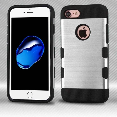 iPhone 7 / iPhone 8 Case MYBAT Silver/Black Brushed TUFF Trooper Hybrid Protector Cover