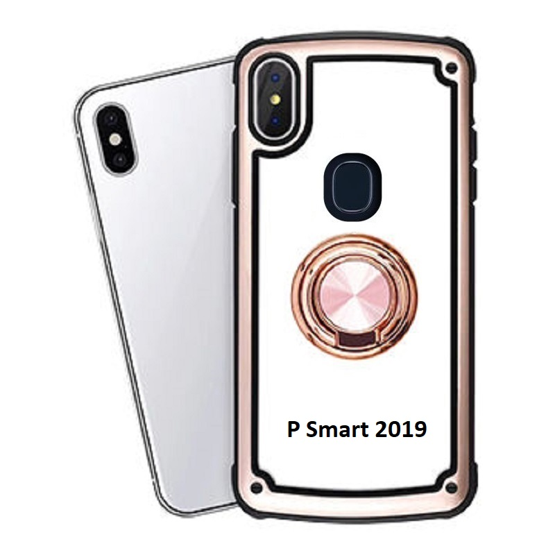 Huawei P Smart 2019 Clear Back Shockproof Cover With Ring Holder Rosegold