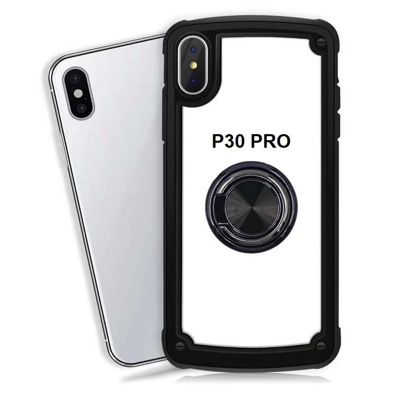 Huawei P30 Pro Clear Back Shockproof Cover With Ring Holder Black