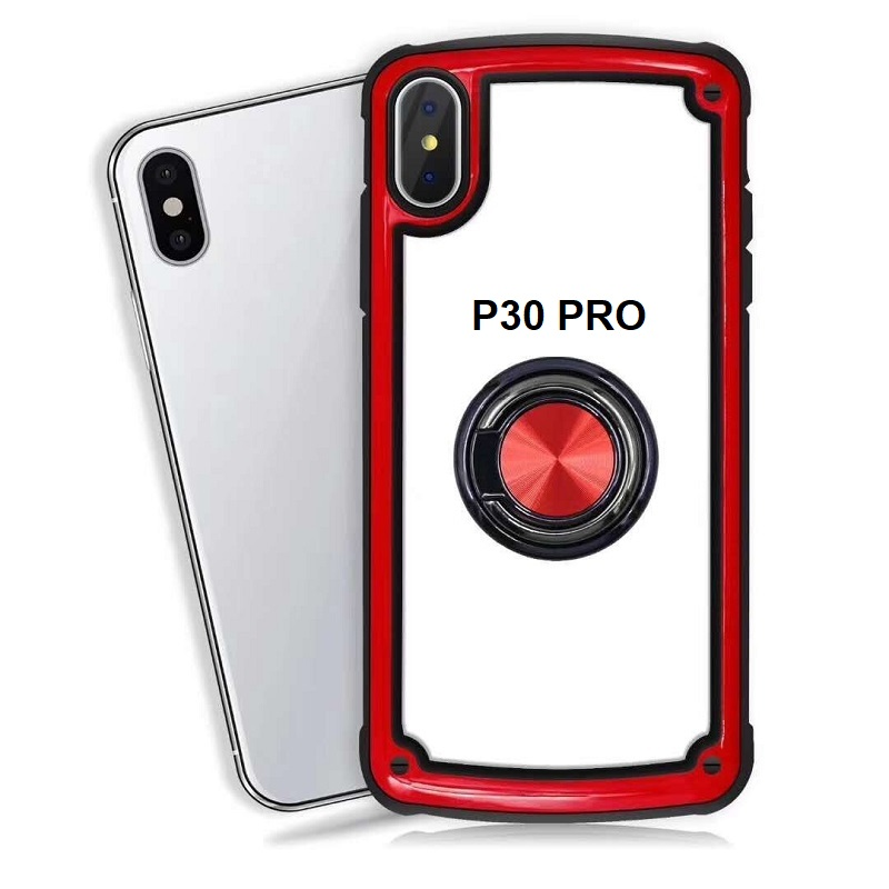 Huawei P30 Pro Clear Back Shockproof Cover With Ring Holder Red