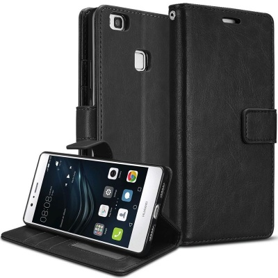 Huawei P9 Lite PU Leather Wallet Case  Black