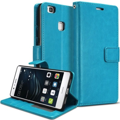 Huawei P9 Lite PU Leather Wallet Case  Blue
