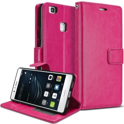 Huawei P9 Lite PU Leather Wallet Case  Pink