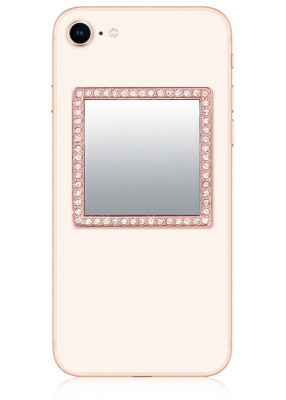Rosegold Square Crystals Phone Mirror | iDecoz