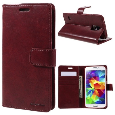 Samsung Galaxy S5 Bluemoon  Wallet Case WineRed