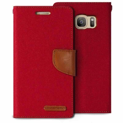 Samsung Galaxy S7 Edge Canvas Wallet Case  Red