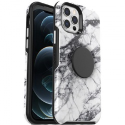 iPhone 12 / 12 Pro Otter + Pop Symmetry Series Case White Marble Graphic