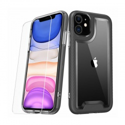 iPhone 11 Mybat LUX SERIES CASE WITH TEMPERED GLASS | Black