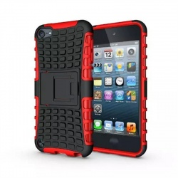iPod Touch (5th/6th Generation)  Hybrid Protector Stand Cover Black/Red