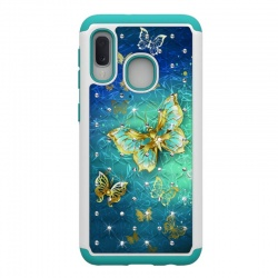 Samsung Galaxy A20e Bling Crystal Shockproof Case -Gold Butterfly