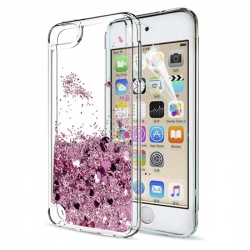 iPod Touch (5th/6th Generation) Glitter Liquid Clear Bling Case | Pink