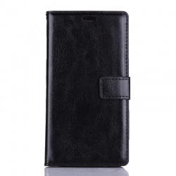 Nokia Lumia 730 PU Leather Wallet Case Black