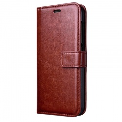 Nokia Lumia 730 PU Leather Wallet Case Brown