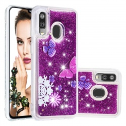 Samsung Galaxy A20e Glitter Liquid Case - Butterfly
