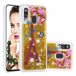 Samsung Galaxy A20e Glitter Liquid Case - Paris