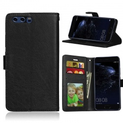 Huawei P10 PU Leather Wallet Case  Black