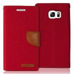 Samsung Galaxy S6 Canvas Wallet Case  Red