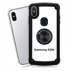Samsung Galaxy A20e Clear Back Shockproof Cover With Ring Holder Black