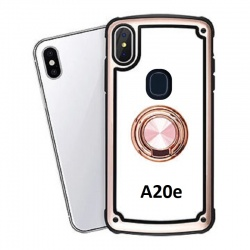 Samsung Galaxy A20e Clear Back Shockproof Cover With Ring Holder Rosegold