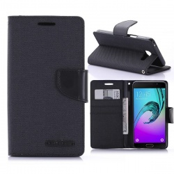 Samsung Galaxy A3(2016)  Canvas Wallet Case  Black
