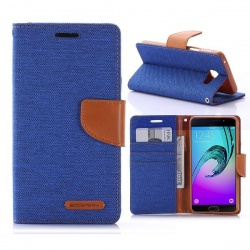 Samsung Galaxy A3(2016)  Canvas Wallet Case  Blue