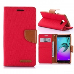 Samsung Galaxy A3(2016) Canvas Wallet Case  Red