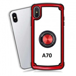 Samsung Galaxy A70 Clear Back Shockproof Cover With Ring Holder Red