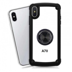 Samsung Galaxy A70 Clear Back Shockproof Cover With Ring Holder Black