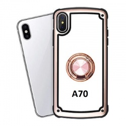 Samsung Galaxy A70 Clear Back Shockproof Cover With Ring Holder Rosegold
