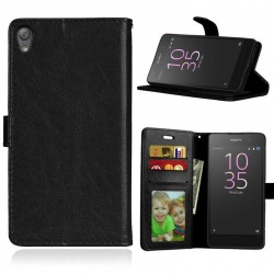 Sony Xperia E5 PU Leather Wallet Case Black