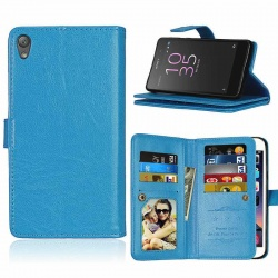 Sony Xperia E5 PU Leather Wallet Case Blue