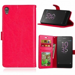 Sony Xperia E5 PU Leather Wallet Case Red