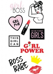 Girl Power Sticker Tags | IDecoz