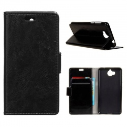 Huawei Y6(2017) PU Leather Wallet Case Black