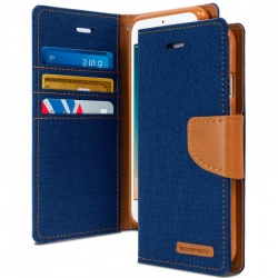 iPhone X Case Goospery Canvas Diary- Blue