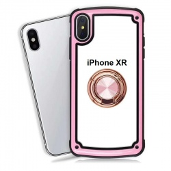 Apple iPhone XR Clear Back Shockproof Cover With Ring Holder Rosegold
