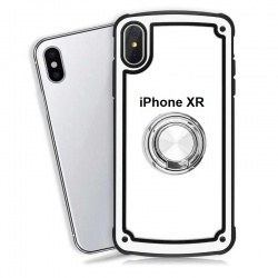 Apple iPhone XR Clear Back Shockproof Cover With Ring Holder White
