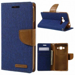 Samsung Galaxy J3(2016) Canvas Wallet Case  Blue
