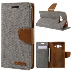 Samsung Galaxy J3(2016) Canvas Wallet Case  Grey