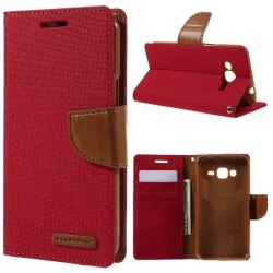 Samsung Galaxy J3(2016) Canvas Wallet Case  Red