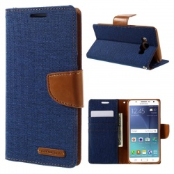 Samsung Galaxy J5(2016)  Canvas Wallet Case  Blue